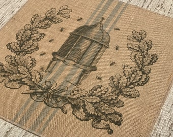 Bees Grainsack Burlap Panel, Reproduction Printed Fabric