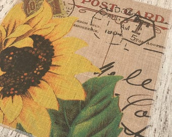 Sunflower Burlap Panel, Post Card Printed Fabric