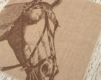 Brown Horse Burlap Panel, Grainsack Printed Fabric
