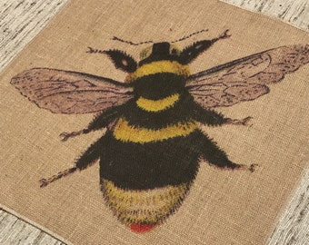 Bumblebee Grainsack Burlap Panel, Reproduction Printed Fabric