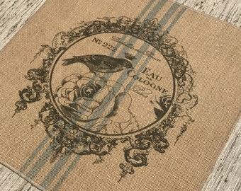 Birds Grainsack Burlap Panel, Reproduction Printed Fabric