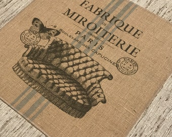 French Couch Burlap Panel, Paris Printed Fabric