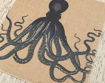 Navy Octopus Burlap Panel, Coastal Printed Fabric