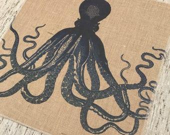 Navy Octopus Burlap Panel, Coastal Printed Fabric