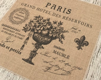 Paris Burlap Panel, Typography Printed Fabric