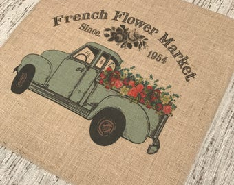 French Truck Burlap Panel, Flower Market Printed Fabric