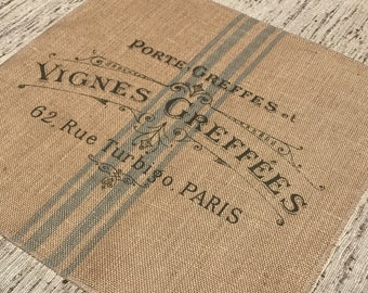 Paris Grain Sack Burlap Panel, Reproduction Printed Fabric