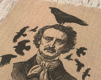 Edgar Allan Poe Burlap Panel, Crow Printed Fabric
