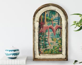"Flamingos Wall Art | 14"" x 22"" | Arch Window Frame | Linen Wall Hanging | Coastal Decor |"