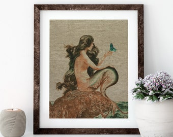 Mermaid Linen Print for Framing, Nautical Artwork