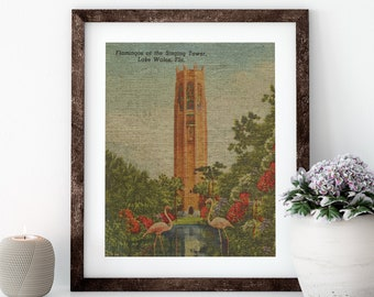 Bok Tower Linen Print for Framing, Florida Artwork