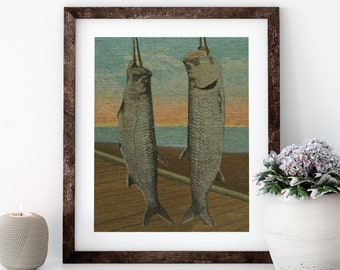 Tarpon Fishing Linen Print for Framing, Florida Artwork