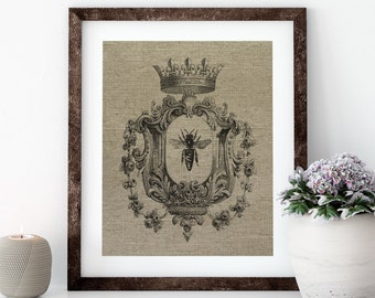Bee with Crown Linen Print for Framing, Bee Wall Art