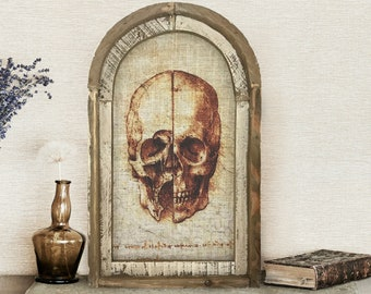 "Skull Wall Art   14"" x 22""   Arch Window Frame   Linen Wall Hanging   Eclectic Decor   Halloween Decoration"