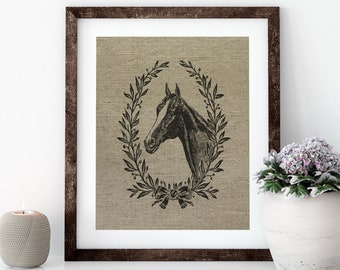 French Horse Linen Print for Framing, Horse Wall Art