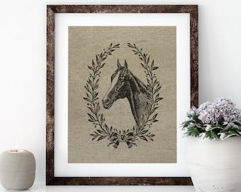 French Horse Linen Print for Framing, Horse Wall Art