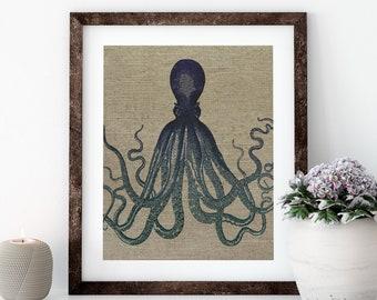 Navy Octopus Linen Print for Framing, Nautical Artwork
