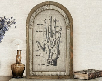 """Palmistry Wall Art   14"""" x 22""""   Arch Window Frame   Linen Wall Hanging   Eclectic Decor   Halloween Decoration"""