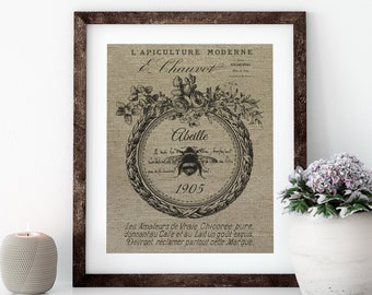 French Bee Linen Print for Framing, Bee Wall Art