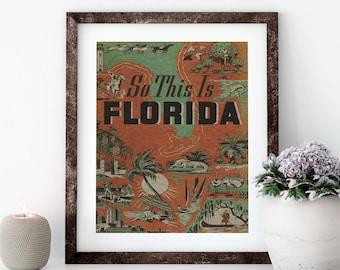 So This Is Florida Linen Print for Framing, Florida Artwork