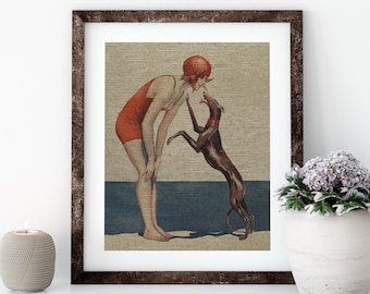 Bathing Suit Postcard Linen Print for Framing, Florida Artwork