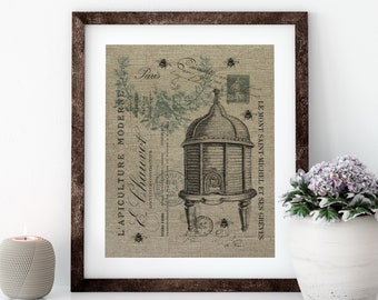 Bee Keeping Linen Print for Framing, Bee Wall Art