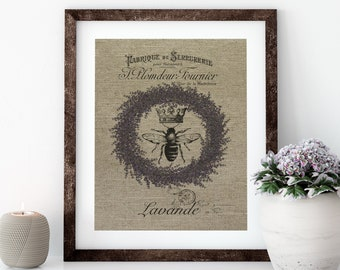 Lavender Bee Linen Print for Framing, Bee Wall Art