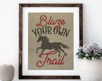 Typography Linen Print for Framing, Horse Wall Art