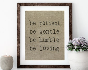 Be Patient Linen Print for Framing, Typewriter Wall Art
