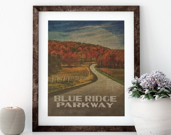Blue Ridge Parkway Linen Print for Framing, Wall Art