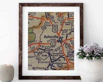 Asheville Map Linen Print for Framing, North Carolina Wall Art