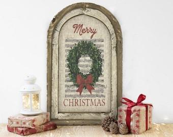 "Christmas Wreath Wall Decor | 14"" x 22"" | Arch Window Frame | Winter Wall Hanging | Farmhouse Xmas Decor |"