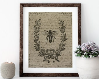 Bee with Script Linen Print for Framing, Bee Wall Art
