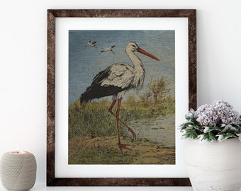 Heron Linen Print for Framing, Florida Artwork