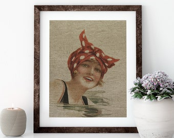 Women Swimming Postcard Linen Print for Framing, Florida Artwork