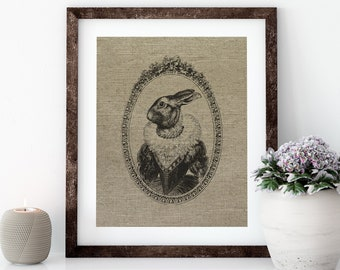 French Bunny Linen Print for Framing, Rabbit Wall Art