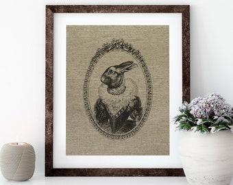 French Bunny Linen Print for Framing, Rabbit Wall Art