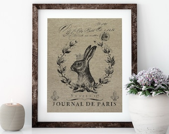 French Rabbit Linen Print for Framing, Natural History Artwork