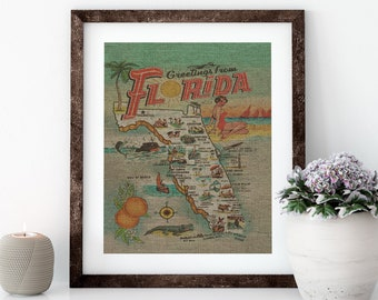 Greetings From Florida Map Linen Print for Framing, Florida Artwork