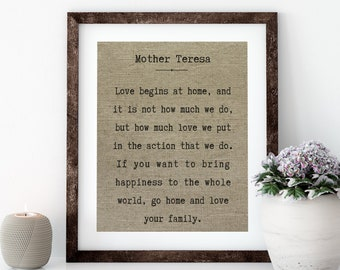 Mother Teresa Linen Print for Framing, Quote Wall Art