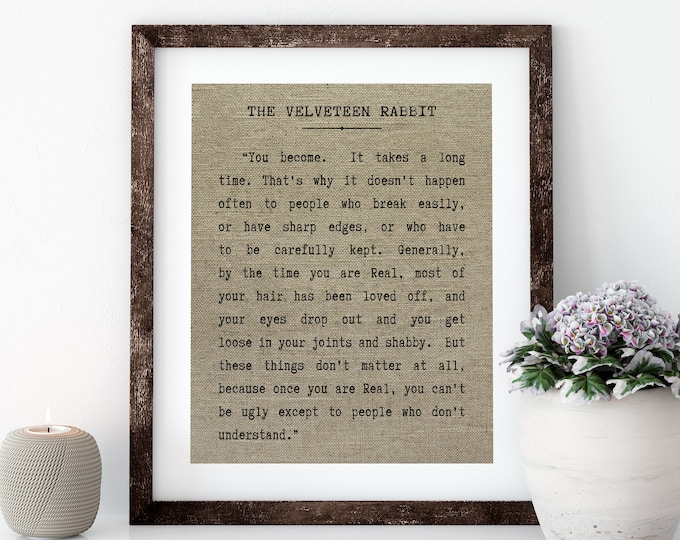 "Featured listing image: The Velveteen Rabbit Linen Print for Framing, ""You Become"" Wall Art"
