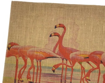 Flamingo Burlap Fabric, Printed Fabric Panel for Upholstery and Framing