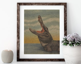 Alligator Postcard Linen Print for Framing, Florida Artwork
