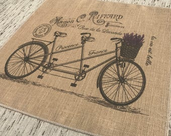 Lavender Bike Burlap Panel, French Printed Fabric