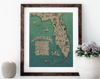 Blue Florida Map Linen Print for Framing, Florida Artwork