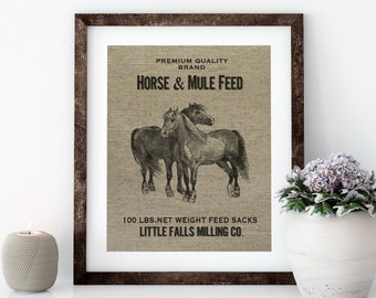 Farmhouse Linen Print for Framing, Horse Wall Art