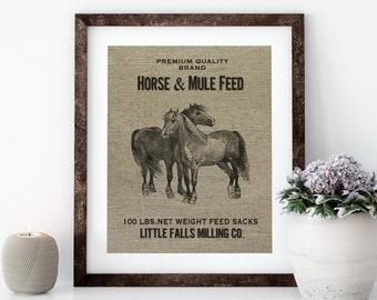 Farmhouse Linen Print for Framing, Horse Wall Art