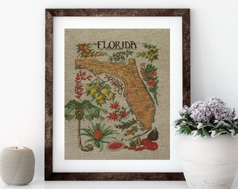 Citrus Florida Map Linen Print for Framing, Florida Artwork