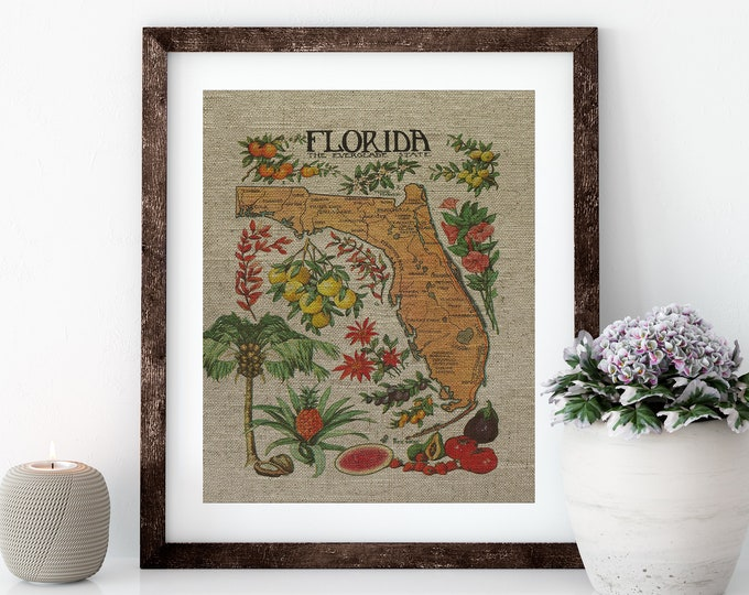Featured listing image: Citrus Florida Map Linen Print for Framing, Florida Artwork