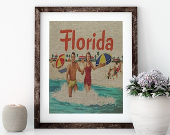Florida Beach Linen Print for Framing, Florida Artwork, Postcard